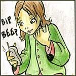 Illustrazione di una ragazza che risponde allo squillo di un telefono cellulare