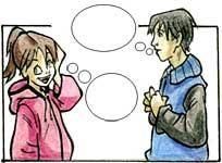 Illustrazione di una ragazza ed un ragazzo, uno di fronte all'altro, che pensano e interagiscono