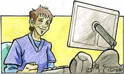 illustrazione di un ragazzo seduto davanti ad un computer Imac