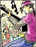 Illustrazione di un ragazzo su un palco che suona la chitarra elettrica